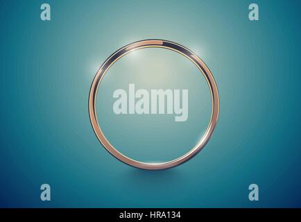 Abstract luxury golden ring. Vector light vintage effect background. Round frame on deep volume turquoise. Space - Stock Photo
