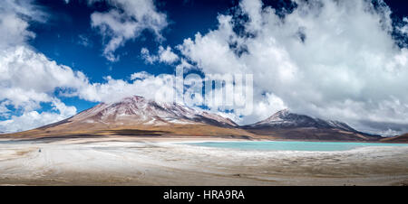 Green lagoon and mountains, Bolivia - Stock Photo