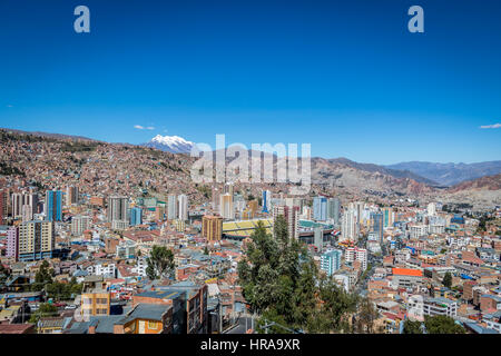Panoramic view of La Paz with Illimani Mountain - La Paz, Bolivia - Stock Photo