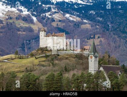 Gutenberg Castle on the hill in Balzers, Liechtenstein - Stock Photo