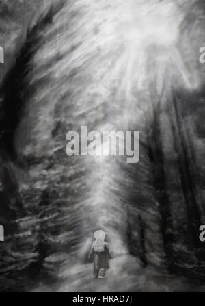 vertical abstract painting with small ghost silhouette in deep forest, black and white - Stock Photo