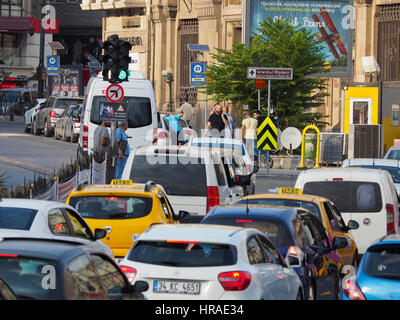 Taxis in traffic,near Istanbul Museum,  Istanbul (western side) Turkey - Stock Photo