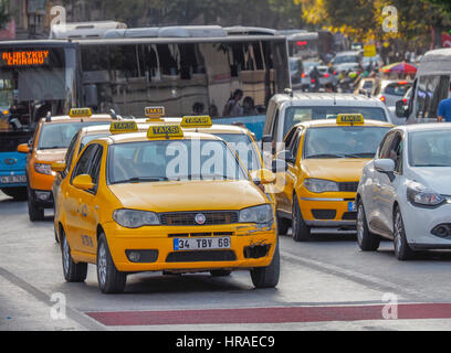 Taxis in traffic, Istanbul (western side) Turkey - Stock Photo