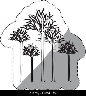 sticker silhouette set collection tree with branches without leaves - Stock Photo