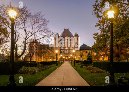 Legislative Assembly of Ontario at night situated in Queens Park - Toronto, Ontario, Canada - Stock Photo