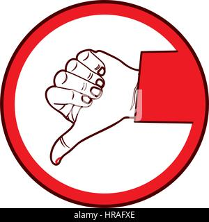 color silhouette of hand with signal disappointed - Stock Photo