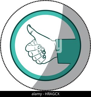sticker color circular frame of hand with signal ok - Stock Photo