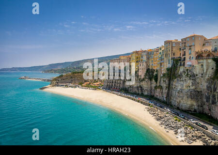 High view of Tropea town and beach - Calabria, Italy - Stock Photo