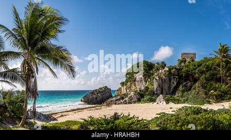 God of winds Temple and Caribbean beach - Mayan Ruins of Tulum, Mexico - Stock Photo