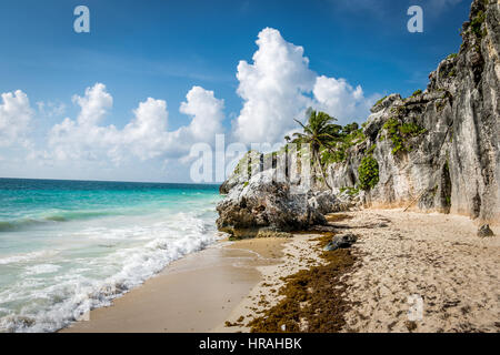 Caribbean sea and Rocks - Mayan Ruins of Tulum, Mexico - Stock Photo