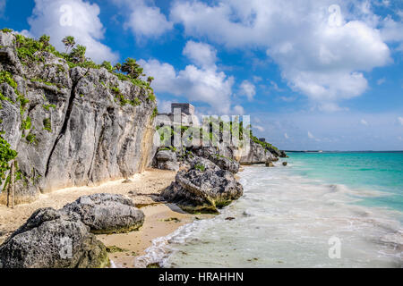 El Castillo and Caribbean beach - Mayan Ruins of Tulum, Mexico - Stock Photo