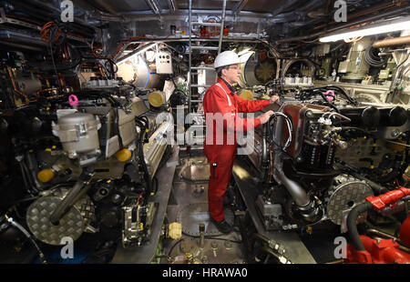 Bern, Germany. 28th Feb, 2017. Holger Freese of the German Maritime Search and Rescue Service (DGzRS) inside the - Stock Photo