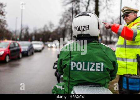February 28, 2017 - Approximately 35-40 in 30 cars protested in a motorcade from Munich's Bavariapark, eventually - Stock Photo