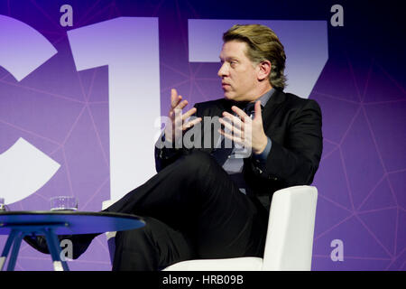 Barcelona, Spain. 28th Feb, 2017. John Martin, Chairman and CEO at Turner, holds a conference at the Mobile World - Stock Photo