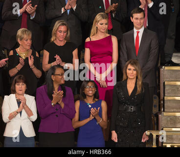 Washington, DC, USA. 28th Feb, 2017. United States First Lady Melania Trump (bottom right) is applauded as she arrives - Stock Photo