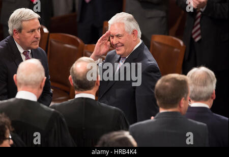 United States Secretary of State Rex Tillerson salutes members of The Supreme Court as he arrives to listen to U.S. - Stock Photo