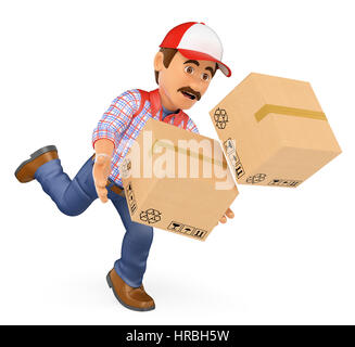 3d working people illustration. Delivery man falling with boxes. Work accident. Isolated white background. - Stock Photo
