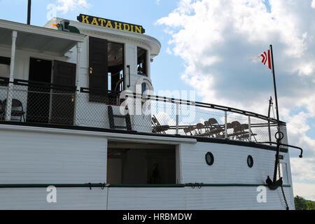 The Century-old Motor Vessel Katahdin on Moosehead Lake docked in Greenville, Maine - Stock Photo