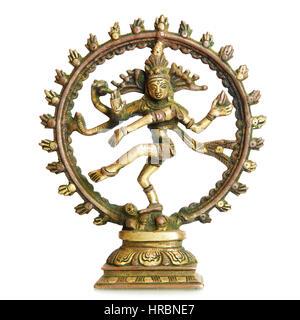 Figurine of Hindu God Shiva isolated over the white background - Stock Photo