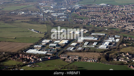 aerial view of South Church Enterprise Park, Nuns Close, Bishop Auckland, UK - Stock Photo