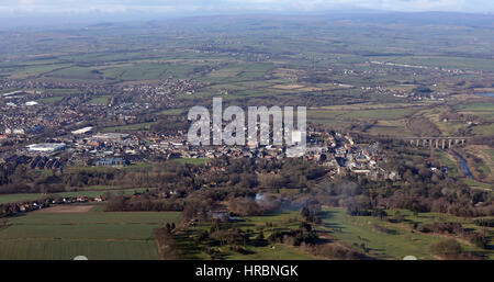 aerial view of Bishop Auckland, County Durham, UK - Stock Photo