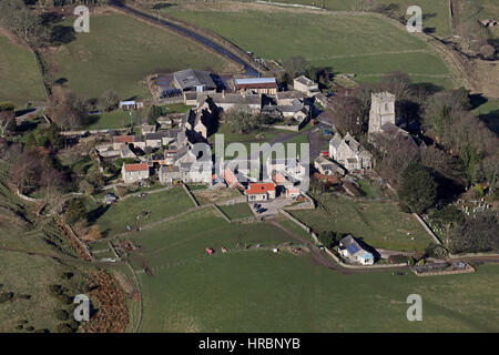 aerial view of Kirby Hill village near Richmond, North Yorkshire, UK - Stock Photo