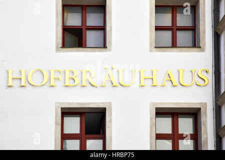 MUNICH, GERMANY - MAY 18, 2016: Signboard of Hofbraeuhaus beerhouse in Munich - Stock Photo