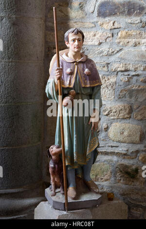 Statue of a pilgrim returning from the Way of St. James and apostle's shrine at Santiago de Compostela in Galicia, - Stock Photo