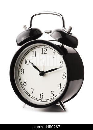Classical black alarm clock isolated on white background - Stock Photo