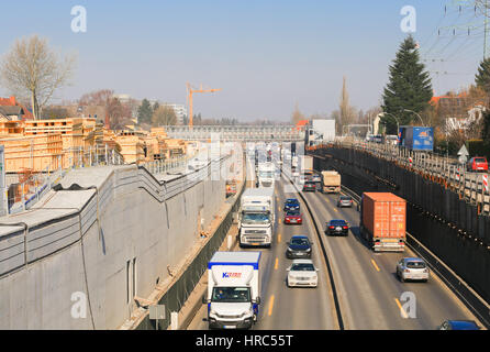Hamburg, Germany - Februar 15, 2017: Construction site on the German freeway A7 in Hamburg seen from a bridge. Traffic - Stock Photo