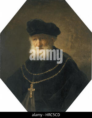 Rembrandt - Bust of an old bearded man wearing a golden chain with a cross - Stock Photo