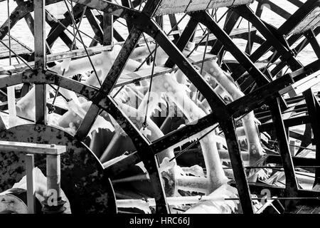 Hamburg, Germany - Februar 15, 2017: Paddle wheel with icicles on it in monochrome. The paddle wheel belongs to - Stock Photo