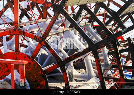 Hamburg, Germany - Februar 15, 2017: Paddle wheel with icicles on it. The paddle wheel belongs to a sightseeing - Stock Photo