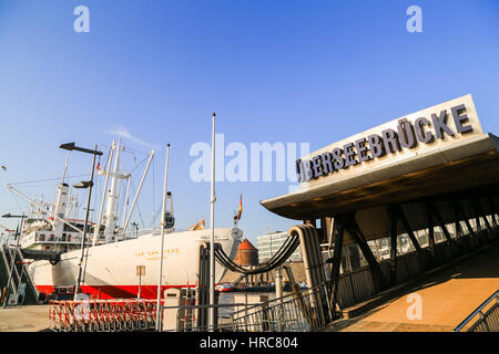 Hamburg, Germany - Februar 15, 2017: Famous Cargo ship MS Cap San Diego moored as a museum ship at the Ueberseebruecke. - Stock Photo