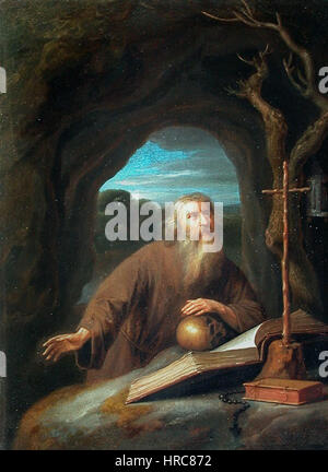 Saint Jerome en priere dans une grotte - Stock Photo