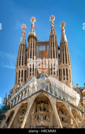 Barcelona, Spain - September 24th, 2015: Basilica of La Sagrada Familia. It is designed by architect Antonio Gaudi - Stock Photo