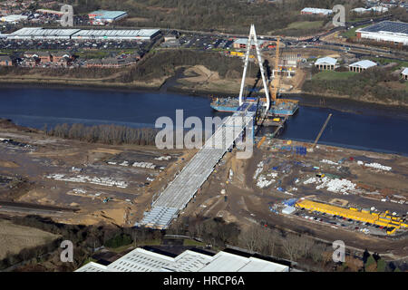 aerial view of the Northern Spire Bridge in Sunderland during construction - Stock Photo