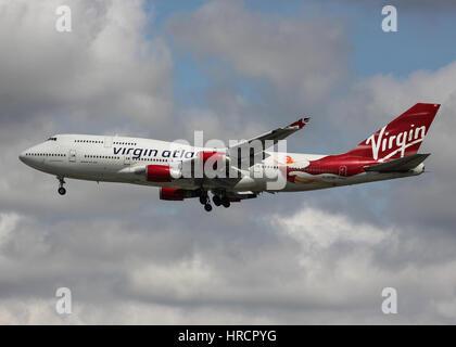 Virgin Atlantic Boeing 747-400 - London Heathrow Airport - Stock Photo