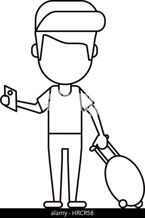 man traveling passport dragging luggage thin line - Stock Photo