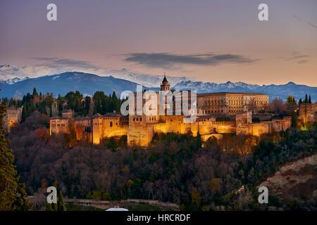 Alhambra of Granada and Sierra Nevada, Granada, Andalusia, Spain, Europe - Stock Photo