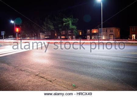 Car light Trails Ipswich uk - Stock Photo