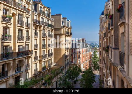 View of residential buildings on Montmartre in Paris, France. - Stock Photo