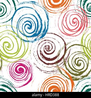 Swirl seamless pattern. Hand drawn spirals, free layout. Colors of flowers on white background. Textile design. - Stock Photo