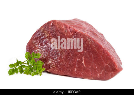 Raw beef mea on white background - Stock Photo