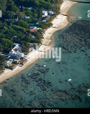 Mauritius, aerial photo, beach hotel, tamarin bay, Mauritius, tamarin bay, hotel, reef, coral reef, blue water, - Stock Photo