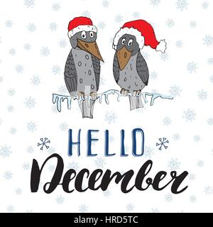 Winter season lettering quote hello december. Hand drawn doodle birds on frozen tree branch in traditional red hats. - Stock Photo
