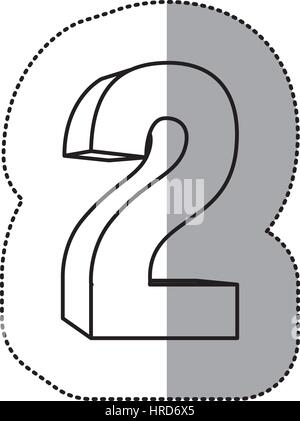 contour number two icon - Stock Photo
