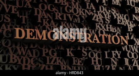 Demonstration - Wooden 3D rendered letters/message.  Can be used for an online banner ad or a print postcard. - Stock Photo