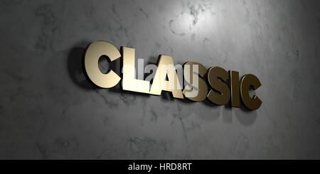 Classic - Gold sign mounted on glossy marble wall  - 3D rendered royalty free stock illustration. This image can - Stock Photo