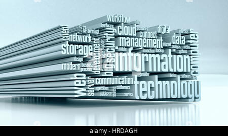 word cloud with terms about information technology (3d render) - Stock Photo